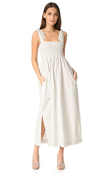 Ganni Palmer Check Smocked Maxi Dress | SHOPBOP