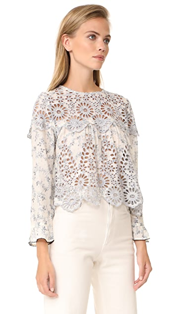 Ganni Emile Lace Top