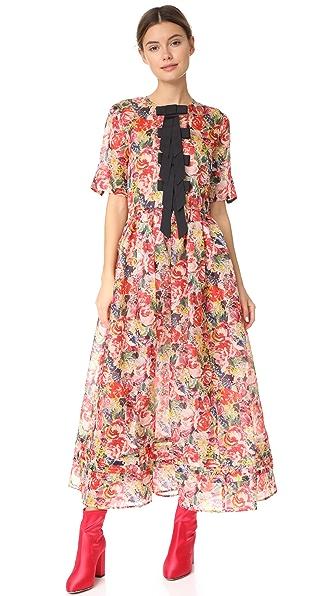 Ganni Seneca Silk Dress In Multicolor