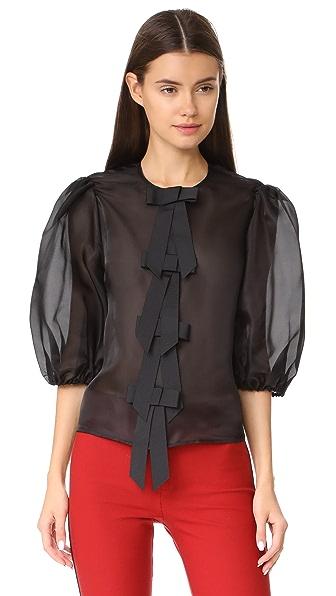 Ganni Seneca Silk Top In Black