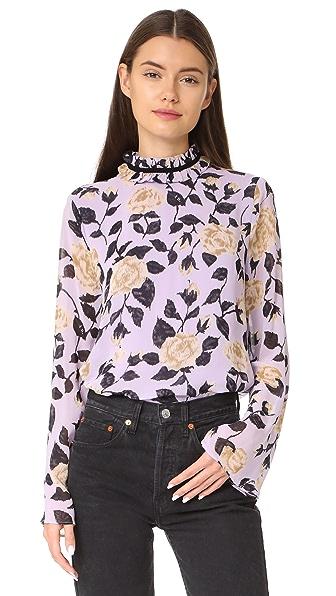 Ganni Carlton Top In Pastel Lilac