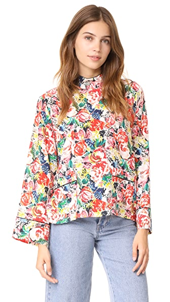 Ganni Maple Silk Top In Multicolor