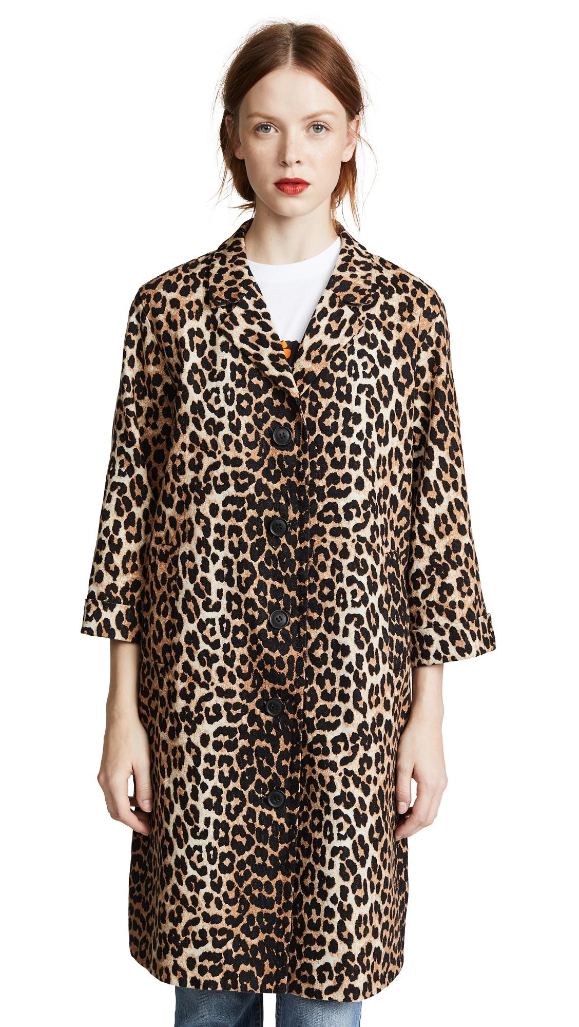 ganni leopard frakke