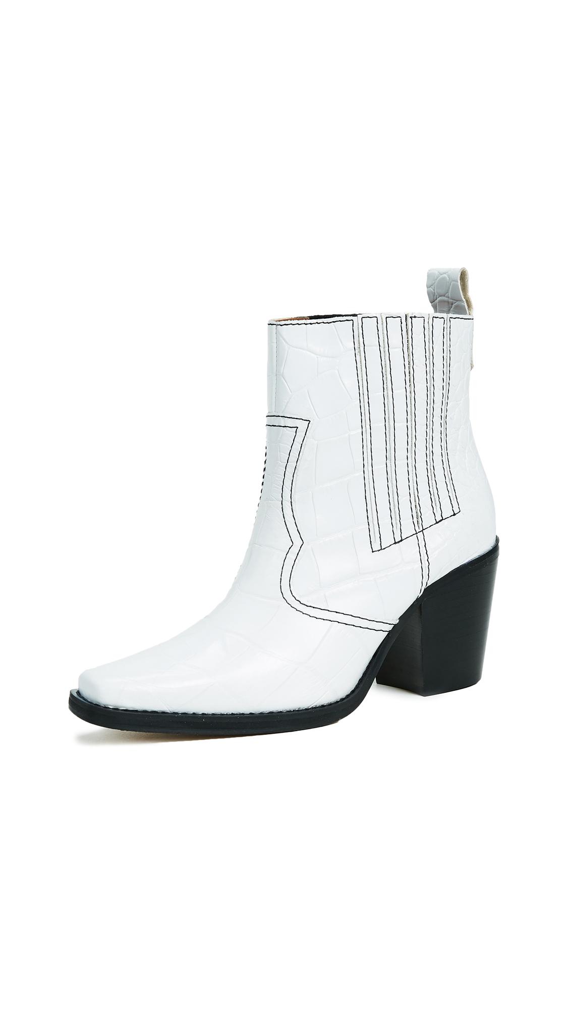 GANNI Callie Booties - Bright White