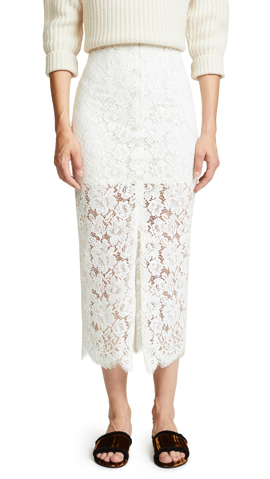 Jerome Midi Lace Skirt, Egret