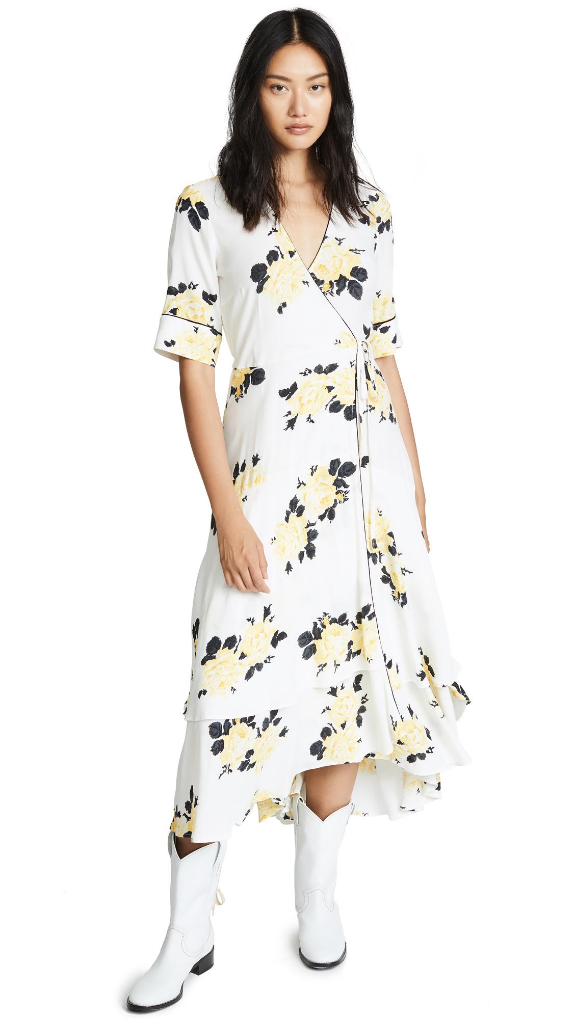 Ganni Tea Length Robe Dress In Vanilla Ice