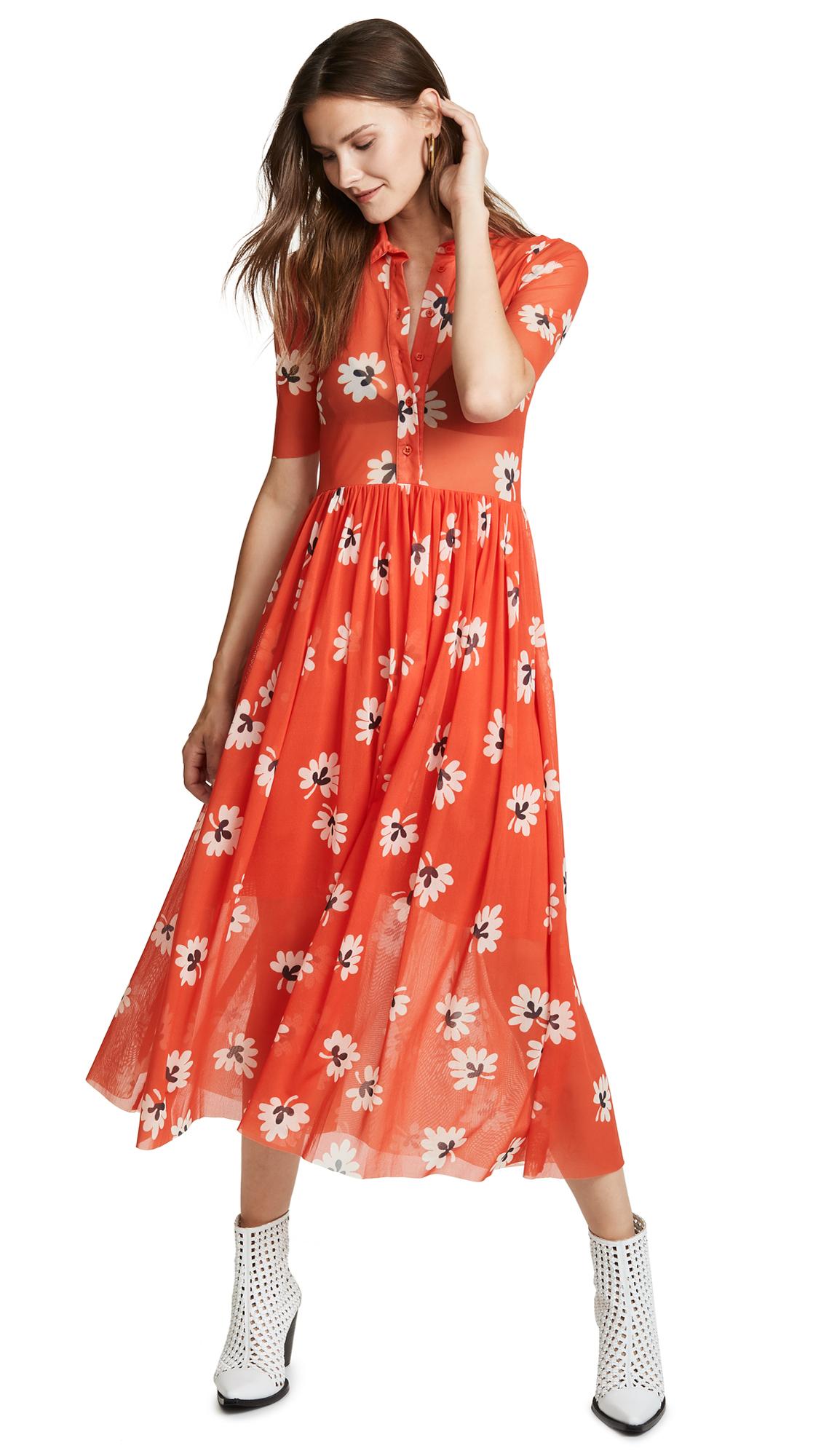 Ganni Tilden Dress In Big Apple Red