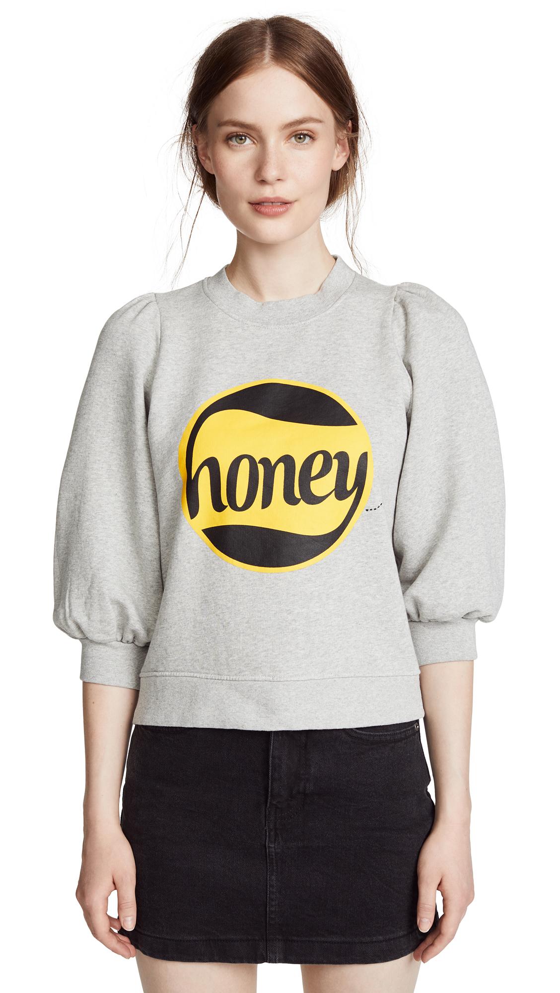 Ganni Honey Sweatshirt In Paloma Melange