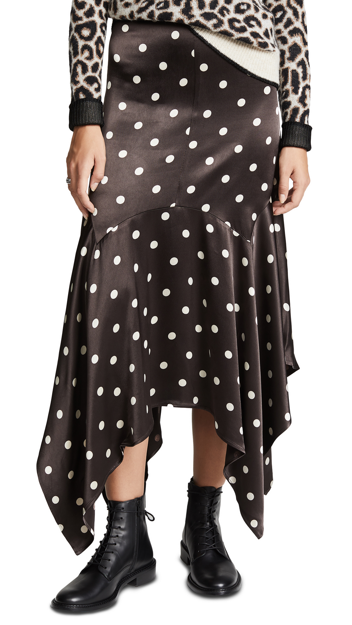 GANNI Polka Dot Viscose Satin Long Skirt in Brown