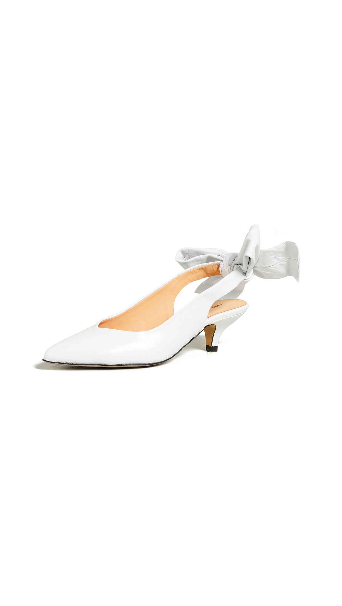 Ganni Sabine Slingback Pumps - Bright White