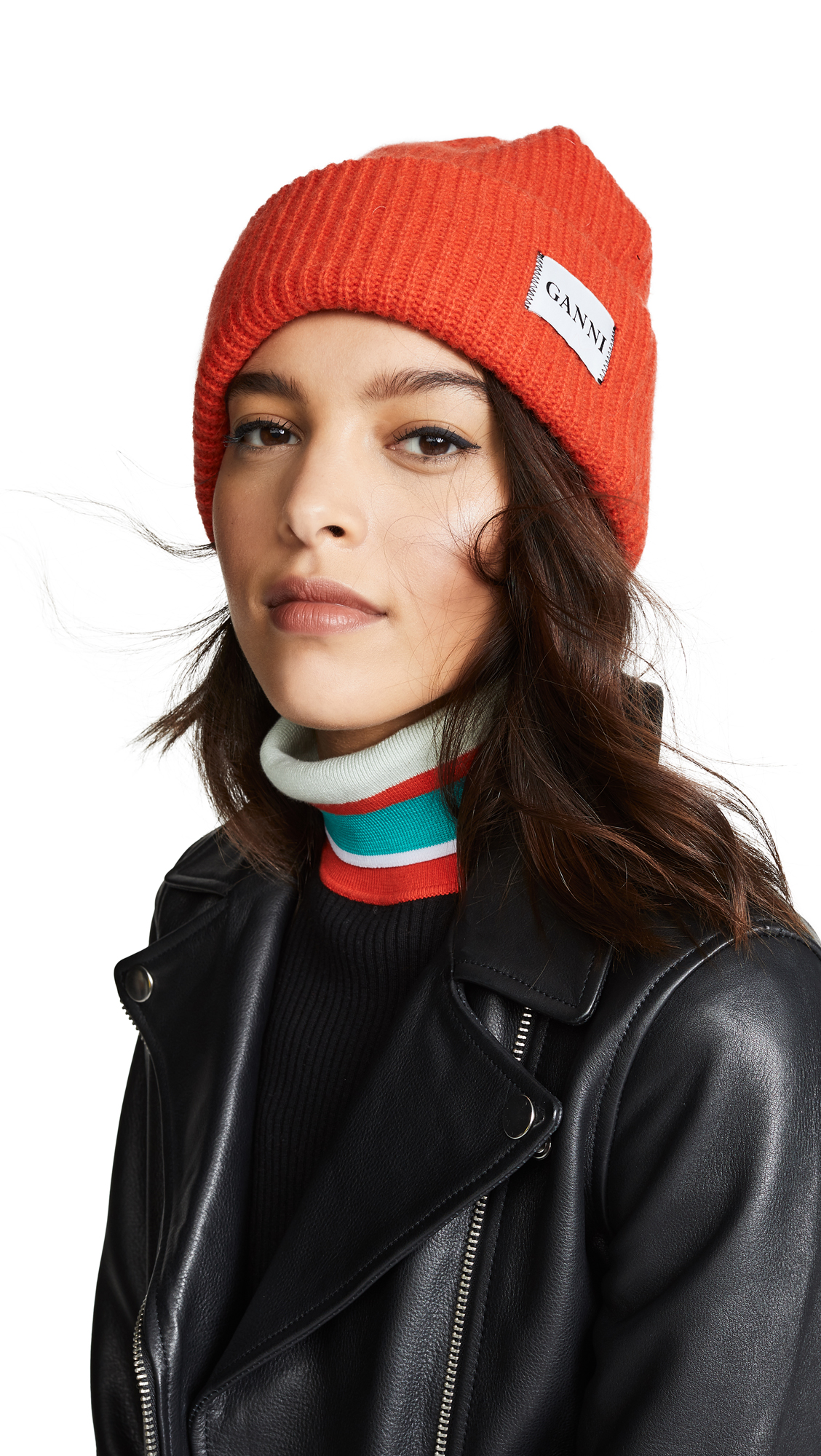 Add a practical pop of colour to your cold-weather repertoire with Ganni s  red Hatley beanie hat. It s knitted in a chunky rib from a soft and cosy  wool ... 9d0ccb1ed635