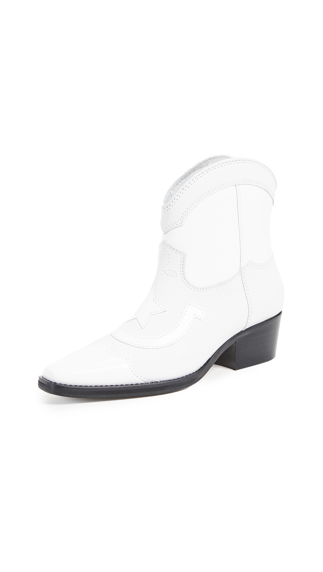 GANNI Low Texas Boots - Bright White