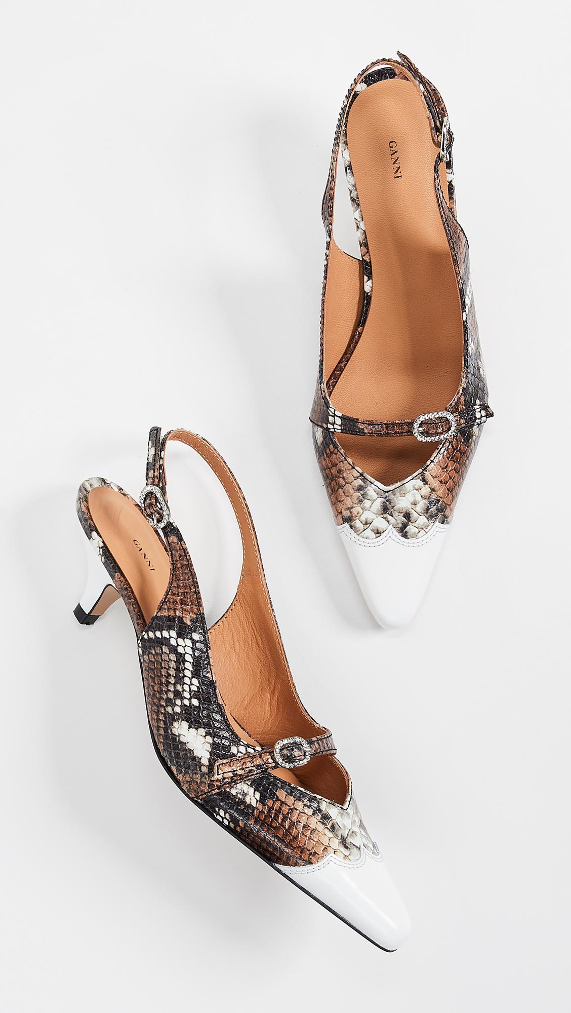 4a4b713f0a5 GANNI Snake Kitten Heels