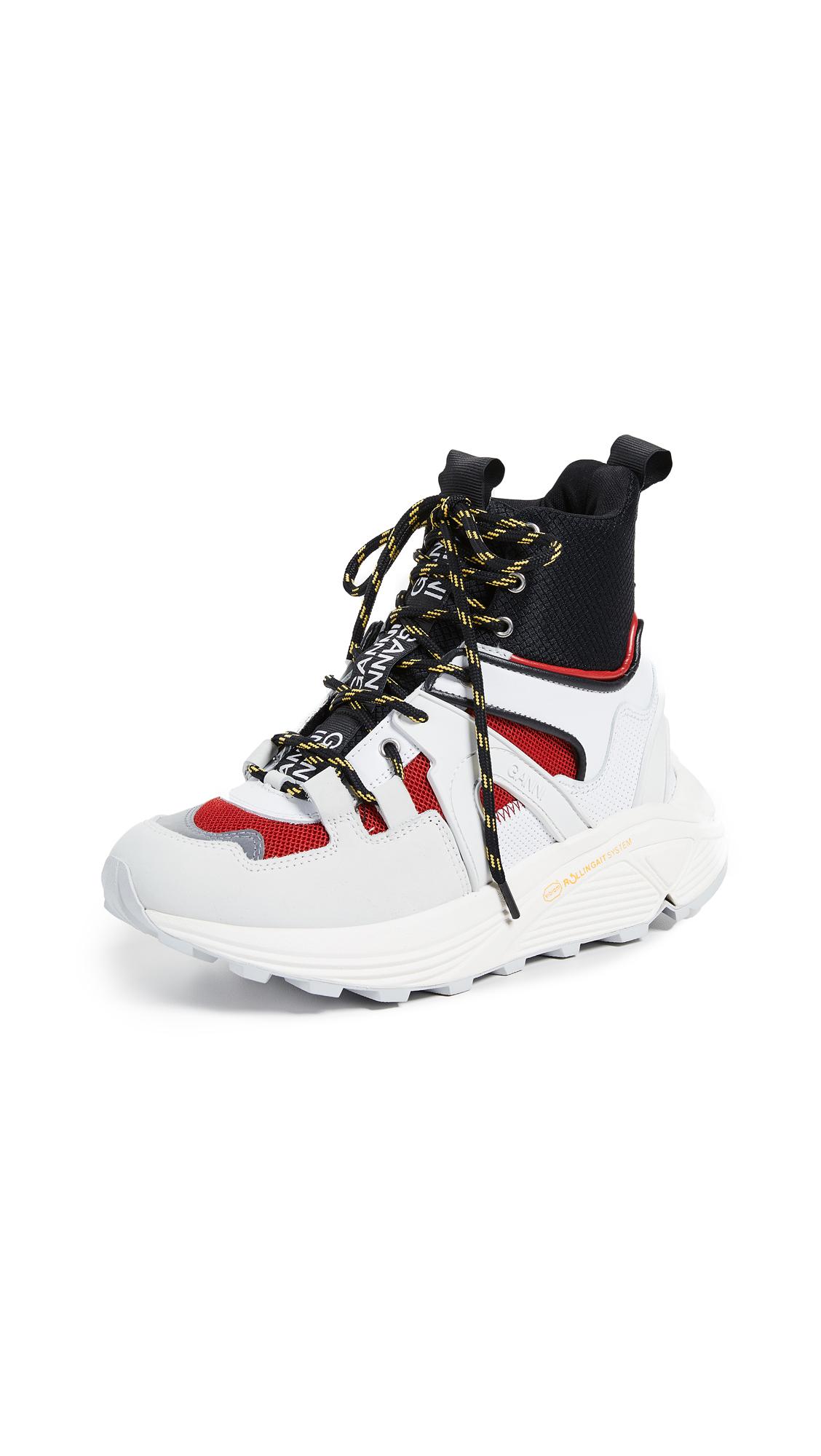GANNI High Top Tech Sneakers - Fiery Red