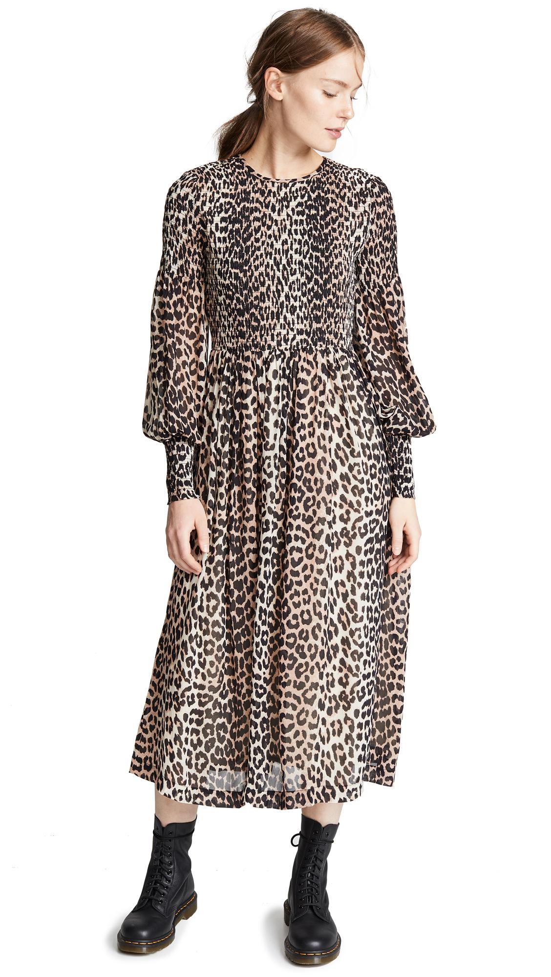 Smocked Leopard-Print Georgette Dress