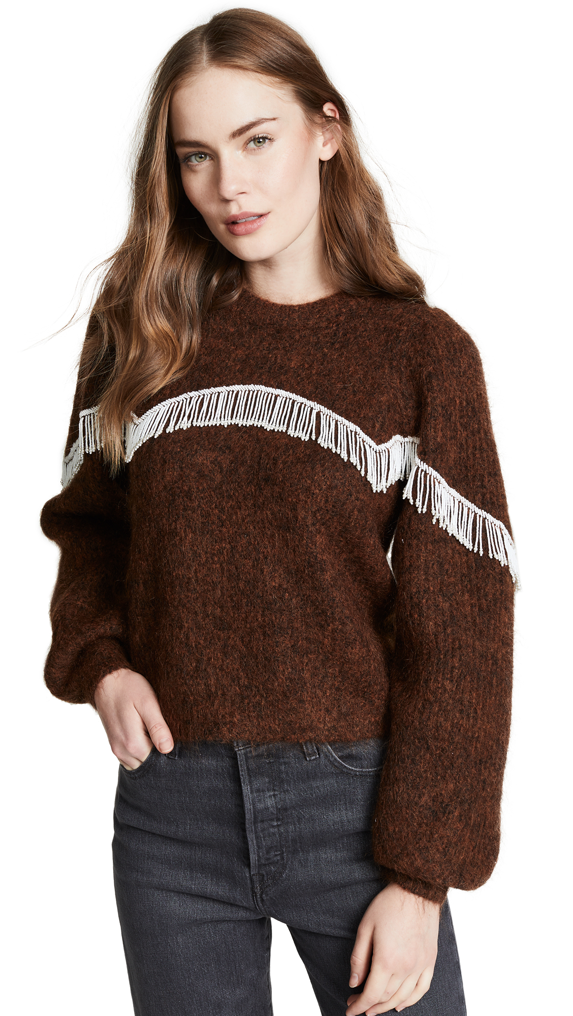 Heavy Soft Wool Knit Puff Sleeve Pullover in Caramel Café
