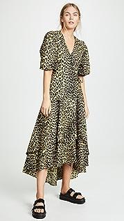 GANNI Printed Cotton Wrap Dress