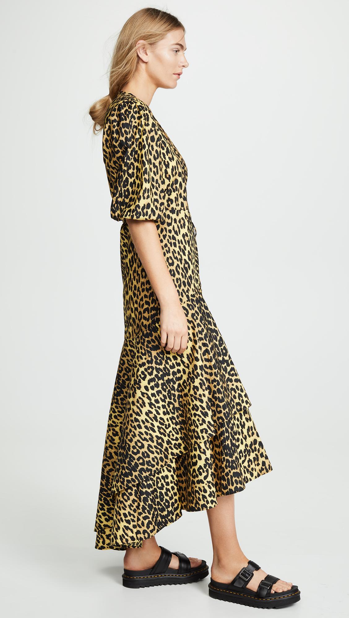 75cd7e6f GANNI Printed Cotton Wrap Dress | SHOPBOP