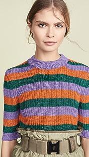 GANNI Striped Knit Top