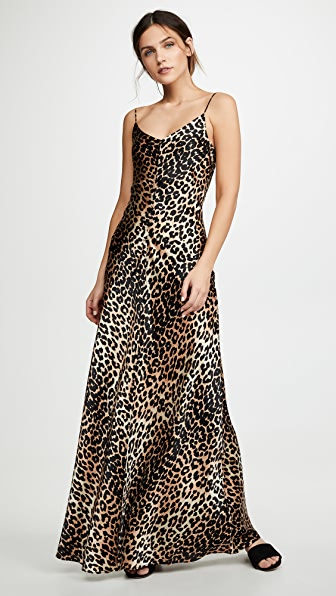 c81f7be1 Ganni Blakely Leopard-Print Stretch-Silk Slip Dress In Leopard Print ...