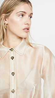 GANNI 纯色透明硬纱系扣衬衫