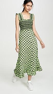 668de8d1d GANNI. Seersucker Check Maxi Dress