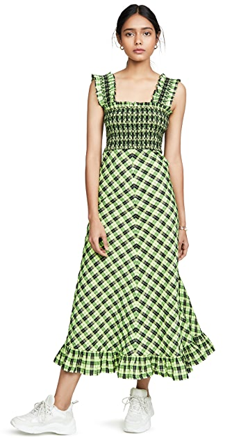 GANNI Seersucker Check Maxi Dress