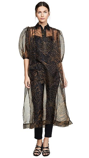GANNI Printed Organza Dress