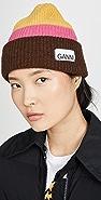 GANNI Knit Striped Beanie Hat