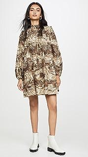 GANNI Платье из хлопковой ткани в рубчик с принтом