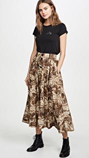 GANNI Printed Cotton Poplin Skirt