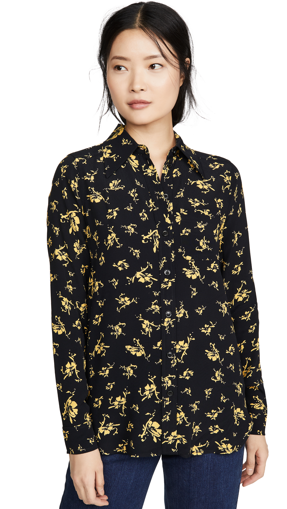 Buy GANNI online - photo of GANNI Printed Crepe Button Down