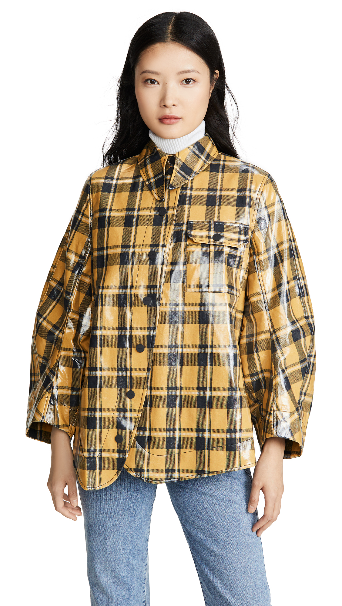 Buy GANNI online - photo of GANNI Coated Flannel Blouse
