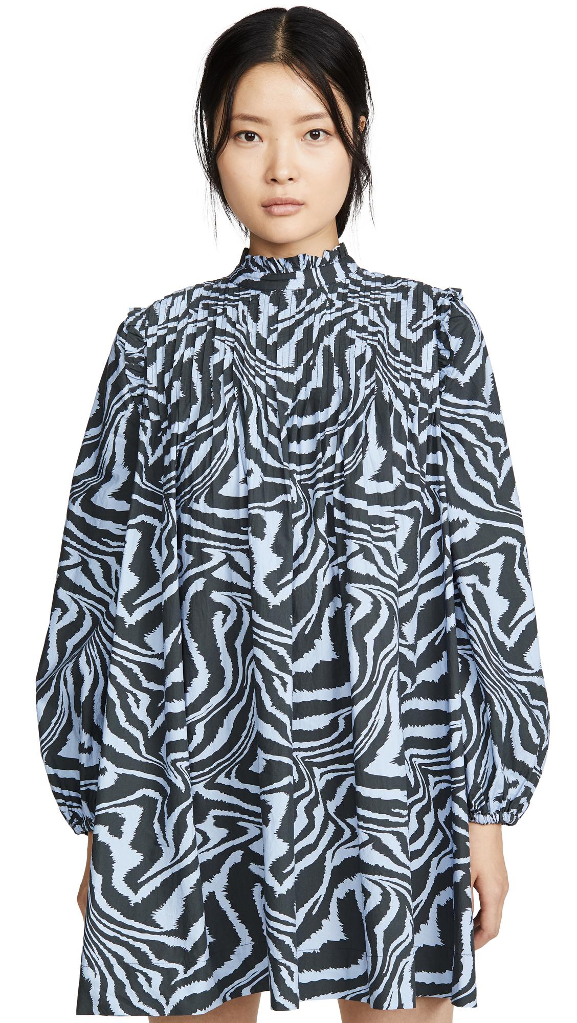 Buy GANNI online - photo of GANNI Printed Cotton Poplin Dress