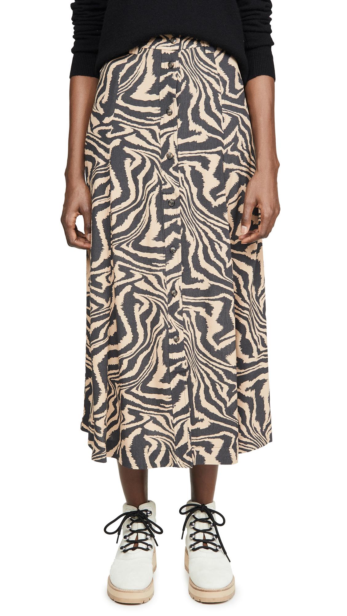 Buy GANNI online - photo of GANNI Printed Crepe Skirt