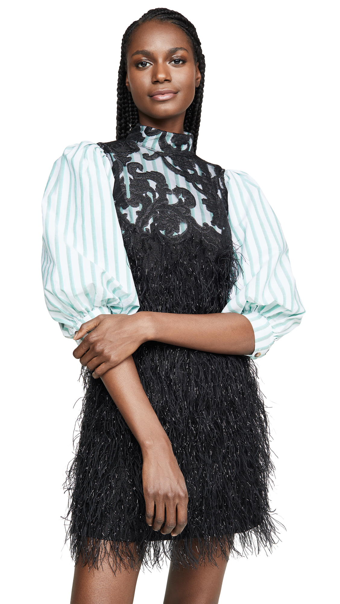 Buy GANNI online - photo of GANNI Feathery Cotton Dress