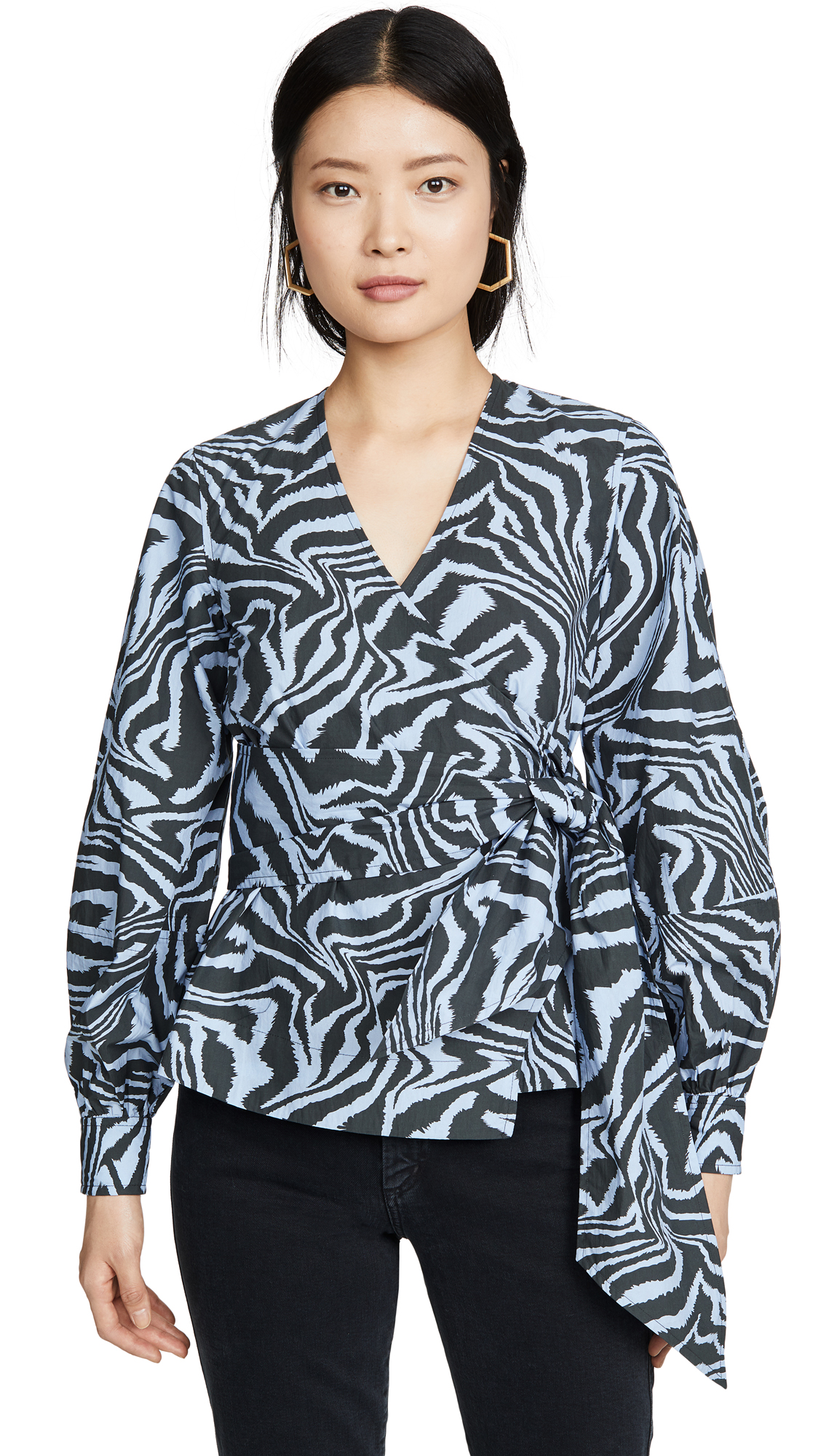 Buy GANNI online - photo of GANNI Printed Cotton Poplin Blouse