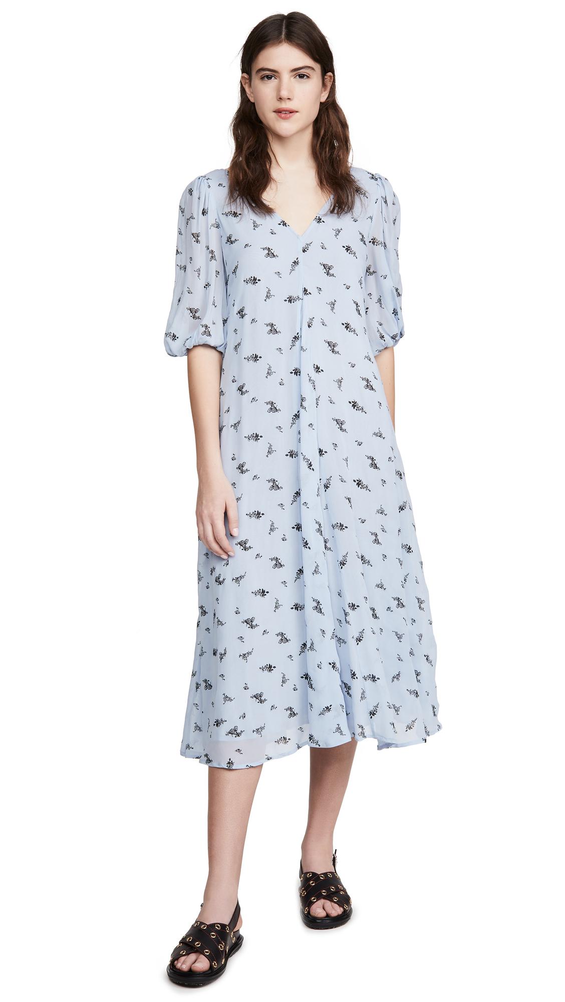 GANNI Printed Georgette Dress - 50% Off Sale