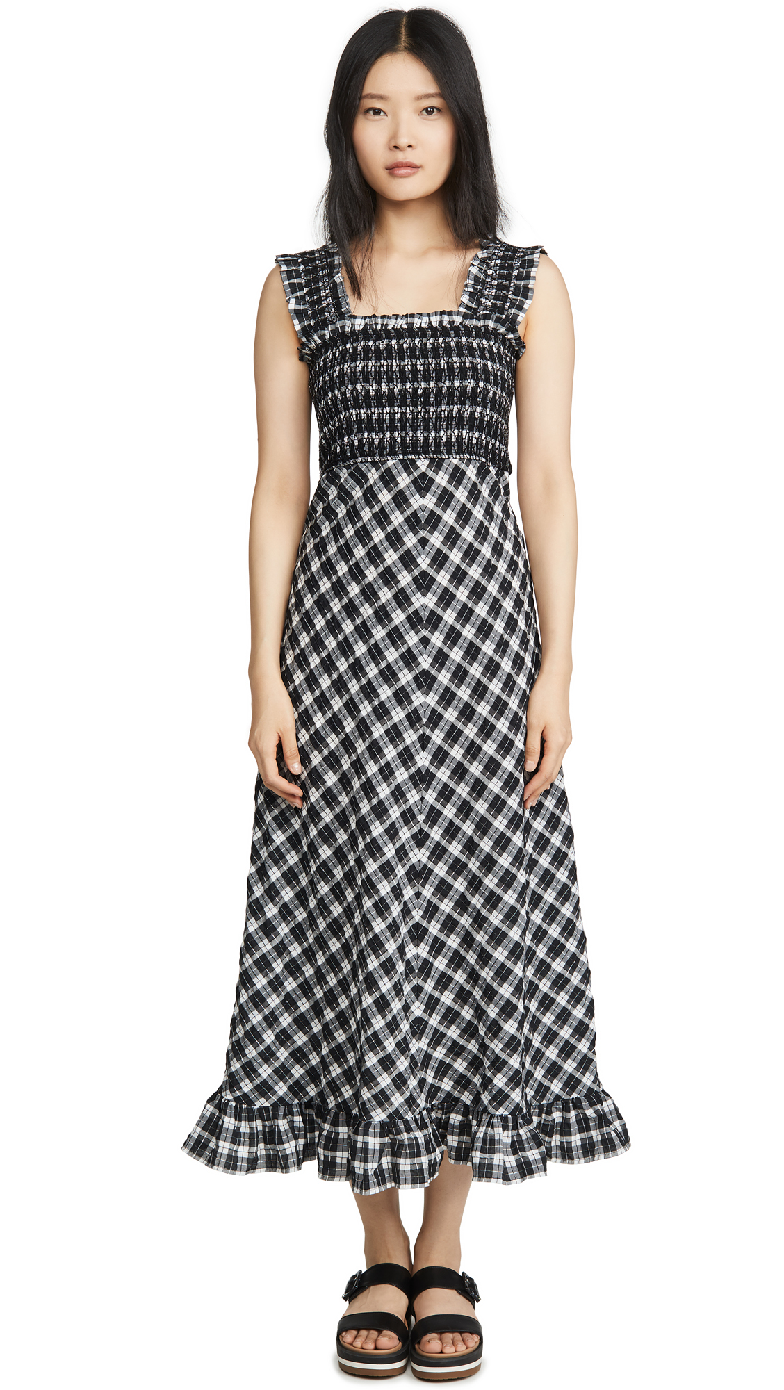 Buy GANNI online - photo of GANNI Seersucker Check Dress