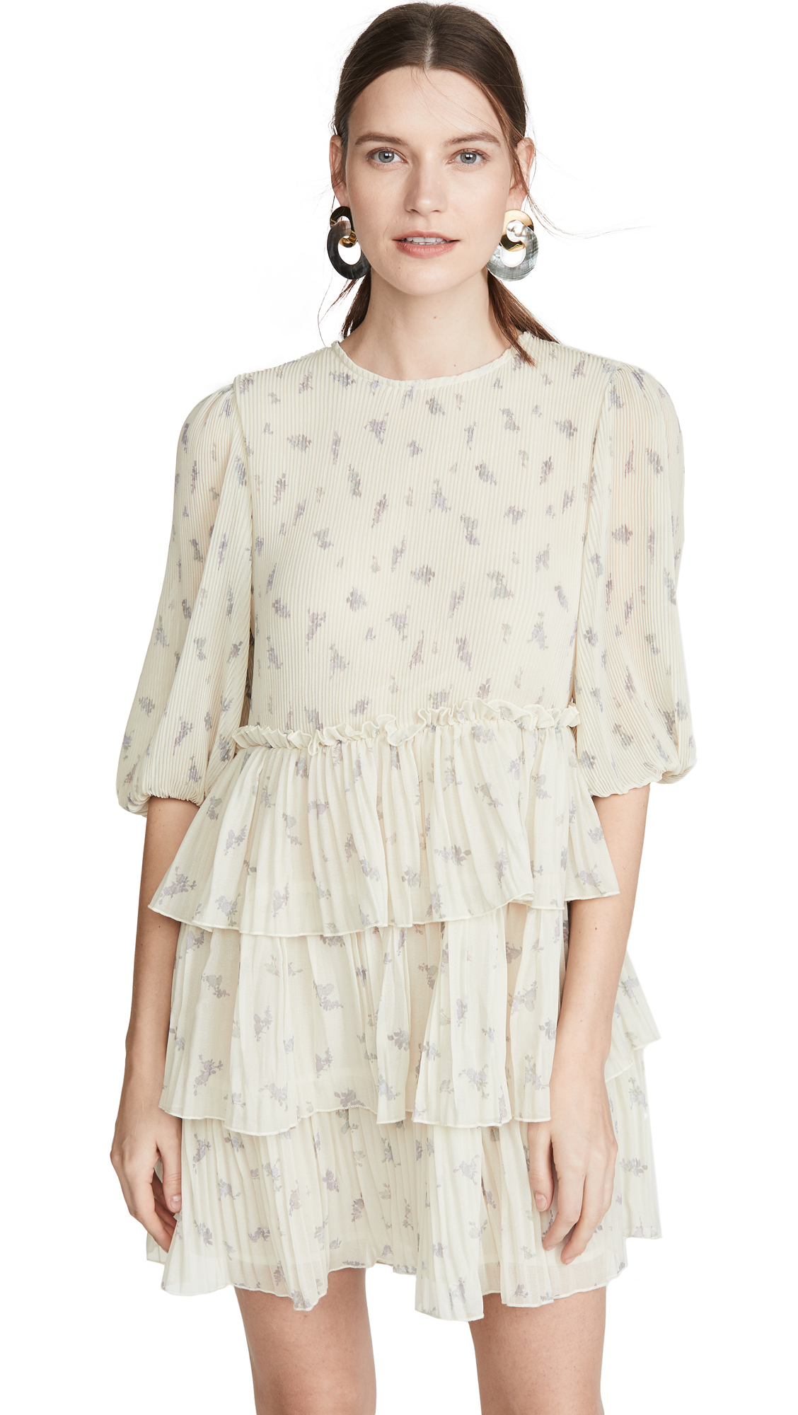 Buy GANNI online - photo of GANNI Pleated Georgette Dress