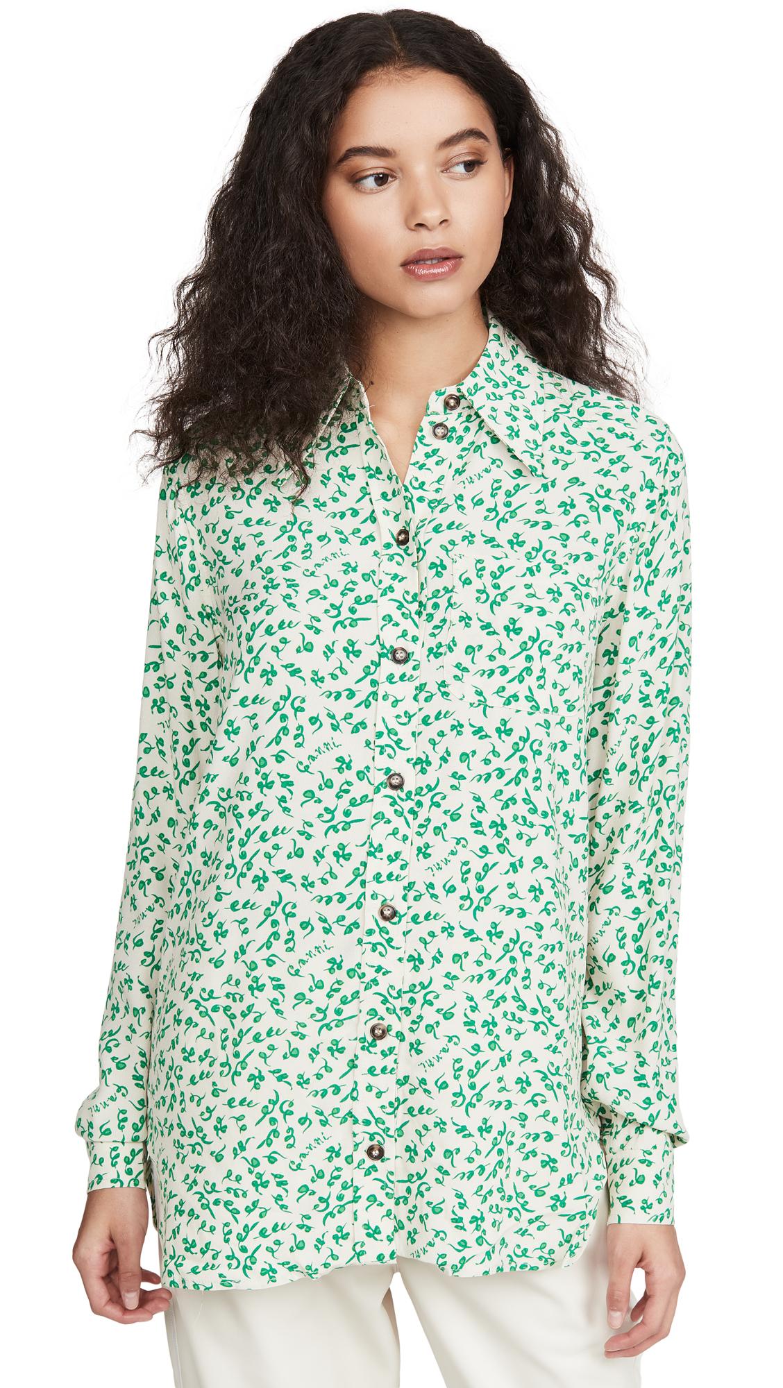 GANNI Printed Crepe Button Down Shirt - 30% Off Sale