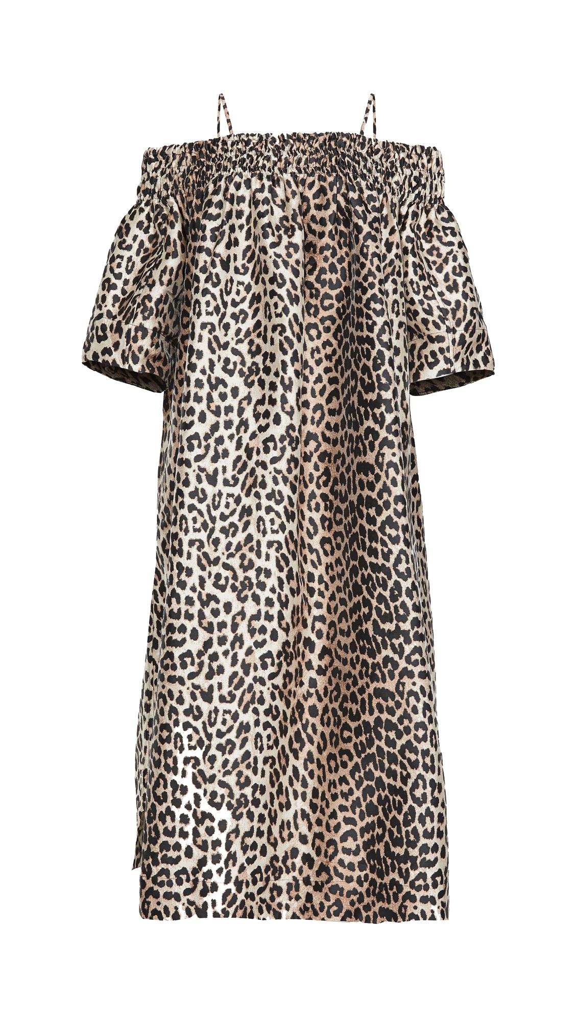 GANNI CRISPY JACQUARD OFF SHOULDER DRESS