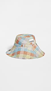 GANNI 泡泡纱格纹渔夫帽