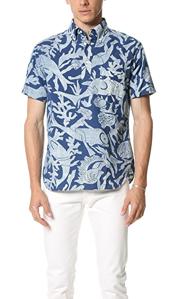 Gant Rugger Indigo Oxford Scuba Short Sleeve Popover