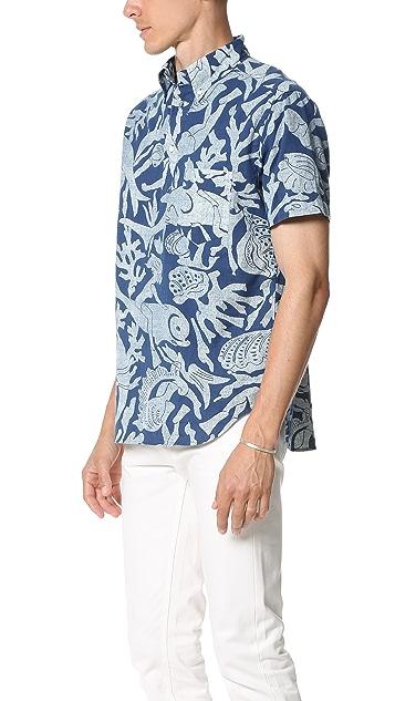 Gant Rugger Indigo Oxford Scuba Short Sleeve Popover