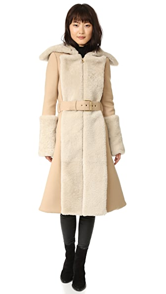 Gareth Pugh Double Shearling Coat - Camel