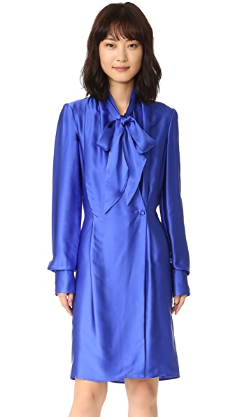 Gareth Pugh Satin Wrap Front Dress - Blue