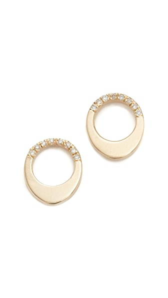 Gabriela Artigas 14k Gold Pave Small Egg Earrings