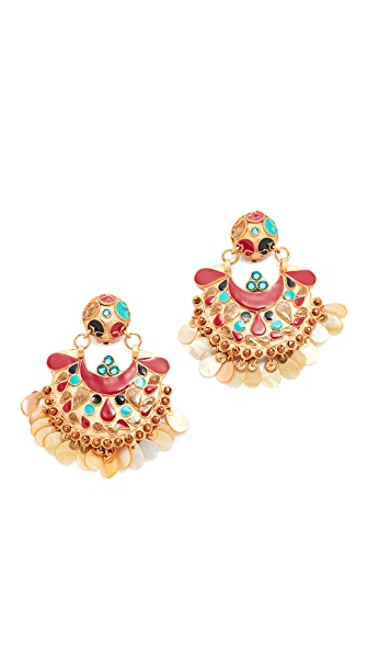 GAS Bijoux Eventail Clip On Earrings - Gold/Multi