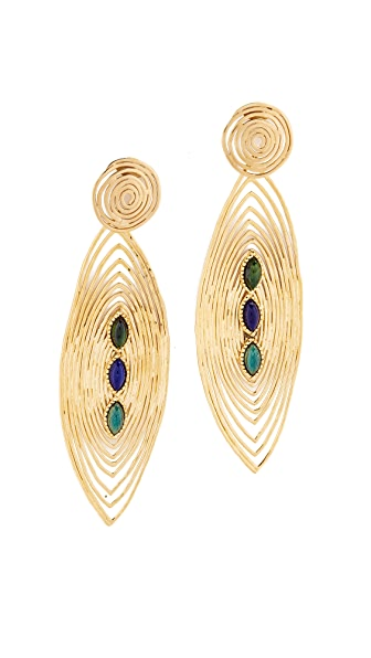 GAS Bijoux Long Wave Earrings - Green/Blue